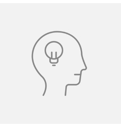 Human head with idea line icon vector
