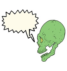 Spooky skull with speech bubble vector