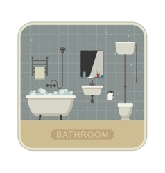 Bathroom interior with grunge texture vector