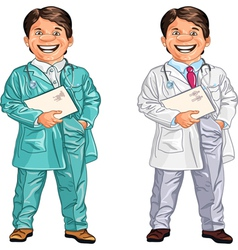 Happy doctor and a veterinarian smiles vector