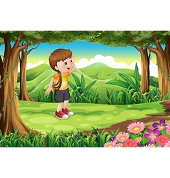 A boy at the forest with a rope at his arm vector