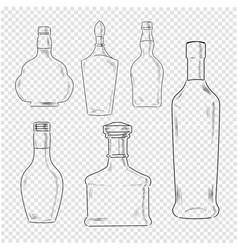 bottles set on transparent background vector image