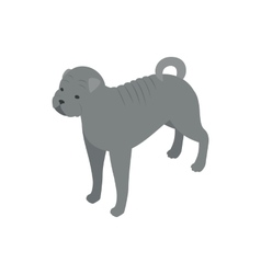 Bulldog dog icon isometric 3d style vector