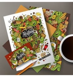 Cartoon cute hand drawn doodles Fast Food vector image