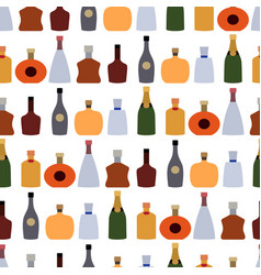 Color alcohol drinks bottle seamless pattern vector