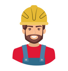 Colorful portrait half body of bearded male worker vector