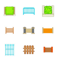 different seamless fence icons set cartoon style vector image