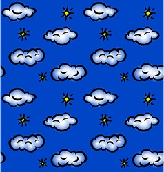 Drawn seamless pattern with clouds and stars vector image