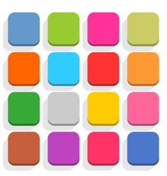 Flat blank web button rounded square icon set vector
