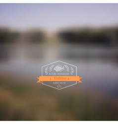 Forest landscape with badge simple nature with vector