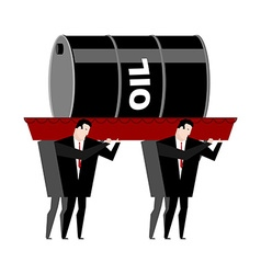 Funeral oil barrel of oil carried in coffin vector