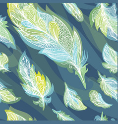 Green and blue feather pattern vector