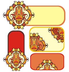 hamsa hand set with ethnic ornaments vector image