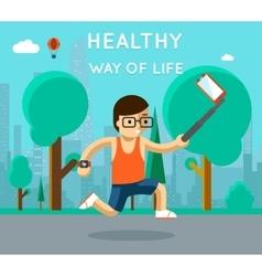 Healthy way of life Sport monopod selfie in park vector image vector image