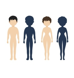 Human body in flat style women men character vector