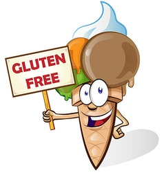 Ice cream cartoon with gluten free signboard vector image vector image