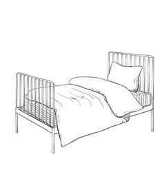 Kids bunk bed doodle style sketch vector