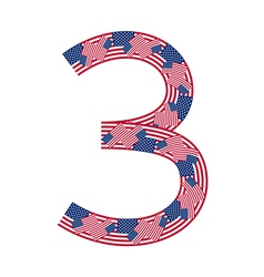 Number 3 made of USA flags on white background vector image