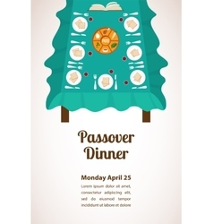 Passover dinner seder pesach table with vector