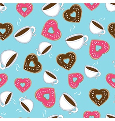 Seamless pattern of hot chocolate and donuts vector image vector image
