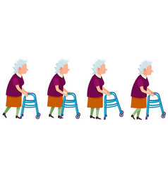Set of grandmother characters moving on walkers vector