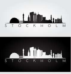 stockholm skyline and landmarks silhouette vector image