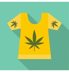 T-shirt with print of cannabis icon flat style vector image