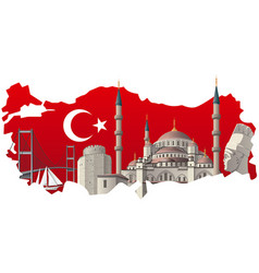 Turkish famous landmarks vector