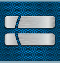 two brushed metal plates on blue perforated vector image