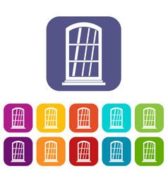 White narrow window icons set flat vector