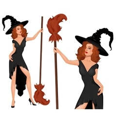Young blonde witch in a hat with broom Halloween vector image