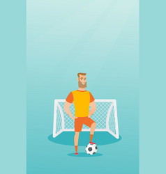 young caucasian football player with a ball vector image vector image