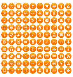 100 entertainment icons set orange vector