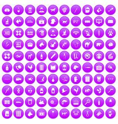 100 veterinary icons set purple vector