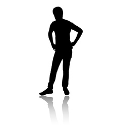 Silhouette of a man who ponders vector