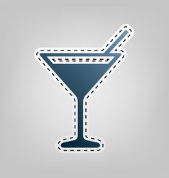 Cocktail sign   blue icon with vector