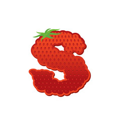 letter s strawberry font red berry lettering vector image