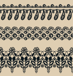 set of lace seamless borders vector image
