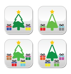 Christmas tree with present buttons set vector