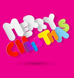 Merry christmas paper colorful tile on pink vector