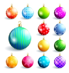 Set of colorful christmas and new year balls vector