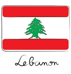 Lebanon flag doodle vector image