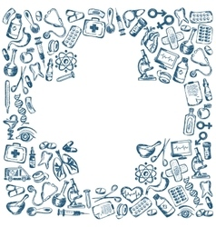 Cross shape with medical icons vector