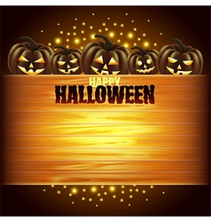 Pumpkins and wooden texture halloween background vector