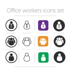 Office workers icons set vector