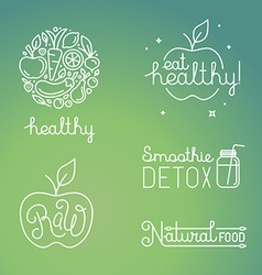 Healthy food and organic fruits concepts vector