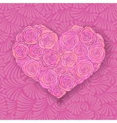 Heart-shaped rose bouquet in soft pink colors vector