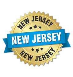 New jersey round golden badge with blue ribbon vector