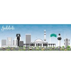 Jeddah skyline with gray buildings and blue sky vector