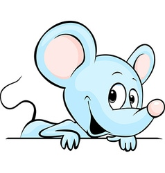 Blue cute mouse cartoon peeking out from white vector